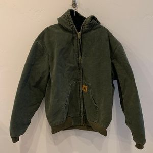 Carhartt Army Green Heavy Duty Zip Up Jacket XXL